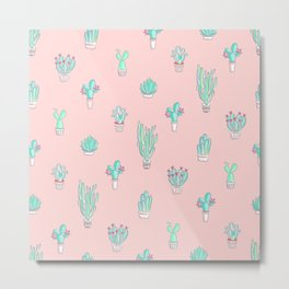 Little succulent pattern on pastel pink Metal Print