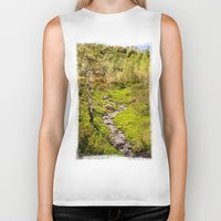 river Biker Tanks featuring River by Julie Luke