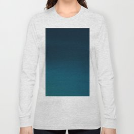 Navy blue teal hand painted watercolor paint ombre Long Sleeve T-shirt