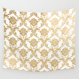 Gold swirls damask #4 Wall Tapestry