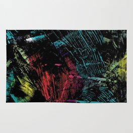 Abstract Black with a Slash of Color Rug