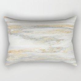 White Gold Marble Texture Rectangular Pillow