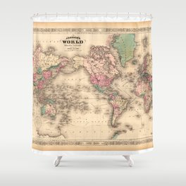 1861 World Map - Johnson's World on Mercators Projection Shower Curtain