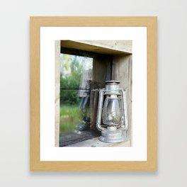 lamp outside cabin Framed Art Print