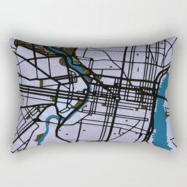 Philadelphia Street Map // Blue Theme Rectangular Pillow