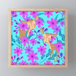 Cute wild sweet little baby deer fawns lost in the forest of delicate pink flowers illustration. Framed Mini Art Print