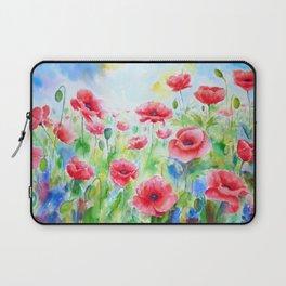 Watercolor red poppy field Laptop Sleeve