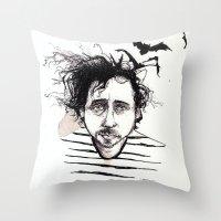 tim burton Throw Pillows featuring Tim Burton by Jess Rose