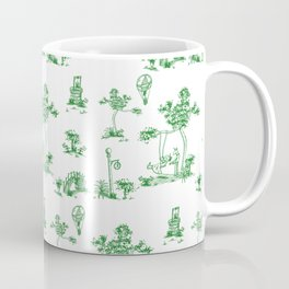 Green Toile Unicorn Coffee Mug