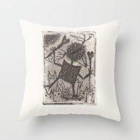 sport Throw Pillows featuring Sport crow by KRADA ZHAN ART