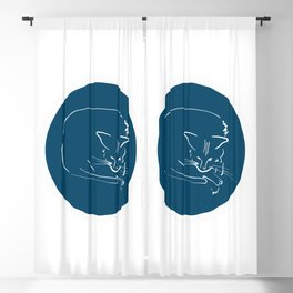 Relaxing Cat in blue circle Blackout Curtain