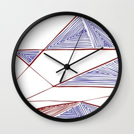 Triangles perspective colored ink-pen drawing Wall Clock