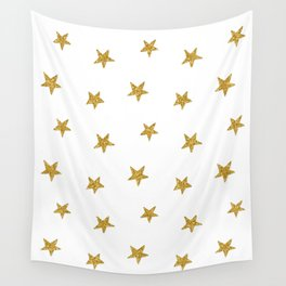 Merry christmas-Stars shining brightly-Gold glitter pattern Wall Tapestry