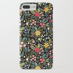 Amazing floral pattern with bright colorful flowers, plants, branches and berries on a black backgro Slim Case iPhone 7 Plus