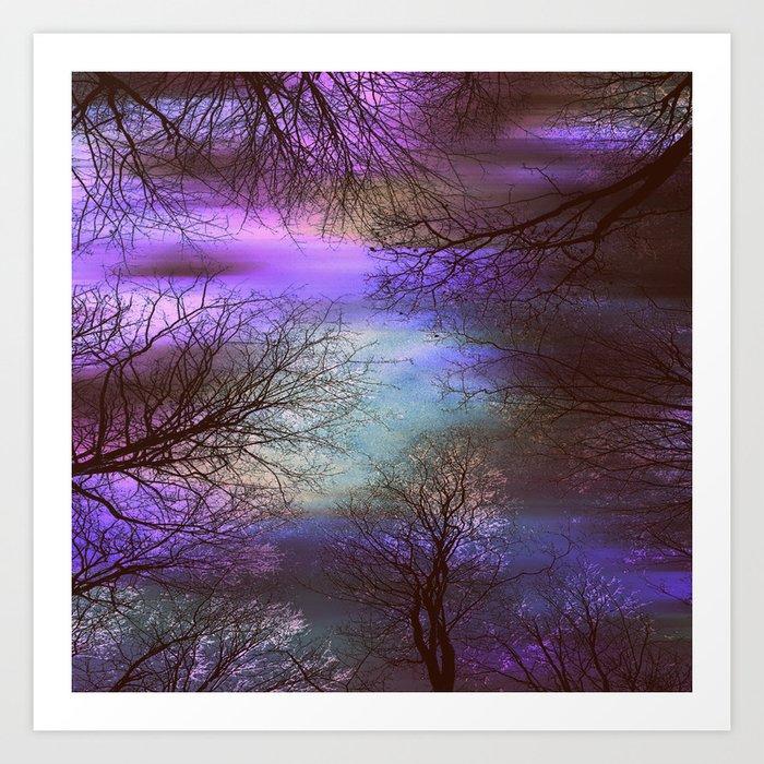 midnight trees purple green teal Art Print