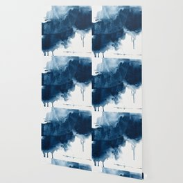 Where does the dance begin? A minimal abstract acrylic painting in blue and white by Alyssa Hamilton Wallpaper