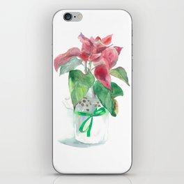 Watercolor Poinsettia flower iPhone Skin