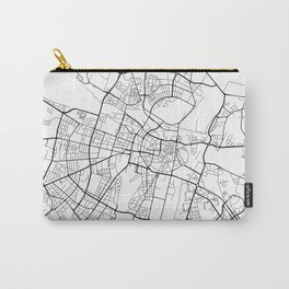 Poznan Map, Poland - Black and White Carry-All Pouch