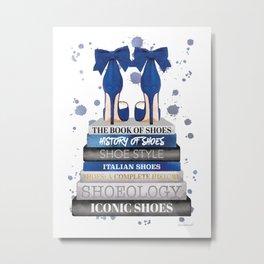 Fashion books, Navy, Shoes, Gold, Beige, wall art, Fashion illustration, Fashion, Fashion wall art, Metal Print
