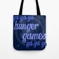lorde Tote Bags featuring Ya Ya Ya Hunger Ya Ya Ya Games - Blue by Hrern1313