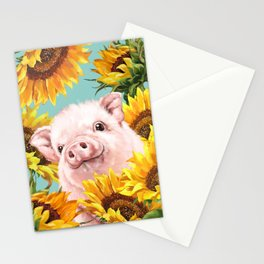Baby Pig with Sunflowers in Blue Stationery Cards