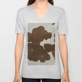 Dark Brown & White Cow Hide Unisex V-Neck