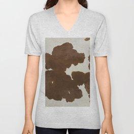 Dark Brown & White Cow Hide Unisex V-Neck