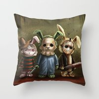 michael myers Throw Pillows featuring Horror Bunnies - Parody of Jason, Freddy and Michael Myers by diana levin art