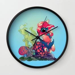 Baby Water Dragon with a Little Cephalopod Wall Clock