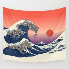 The Great Wave of Sloth Wall Tapestry