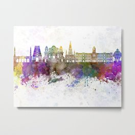 Chennai skyline in watercolor background Metal Print