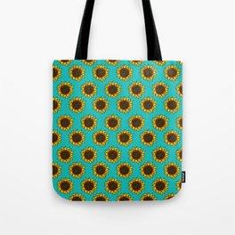 Aqua Sunflowers Tote Bag