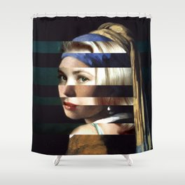 """Vermeer's """"Girl with a Pearl Earring"""" & Grace Kelly Shower Curtain"""