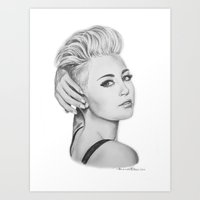 miley Art Prints featuring Miley by Amanda Tiberi
