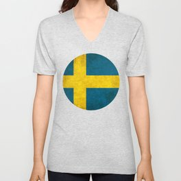 Sweden flag, circle Unisex V-Neck