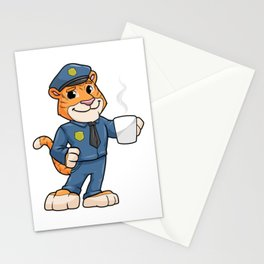 Tiger as Police officer with Police hat and Drink Stationery Cards