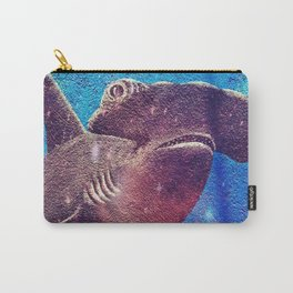 Hammerhead Shark In The Deep Blue Ocean Painting Carry-All Pouch