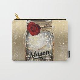 Gold Sparkle Mason Jar Carry-All Pouch