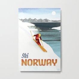Ski Norway Vintage Travel Poster Metal Print