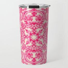 Hot Pink & Soft Cream Folk Art Pattern Travel Mug