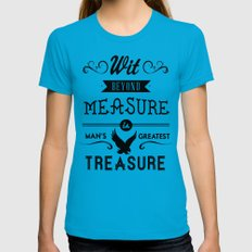 Wit Beyond Measure is Man's Greatest Treasure Teal Womens Fitted Tee X-LARGE
