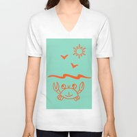 crab V-neck T-shirts featuring crab by gzm_guvenc