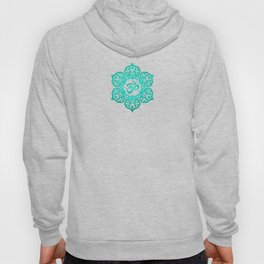 Vintage Scratched Teal Blue Lotus Flower Yoga Om Hoody