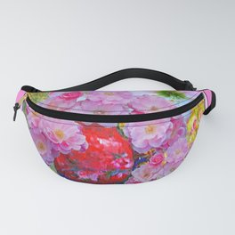PINK AND MORE PINK ROSES RED VASE ART Fanny Pack