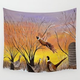 Pheasants in the sunrise Wall Tapestry