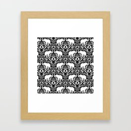 Elephant Damask Black and White Framed Art Print