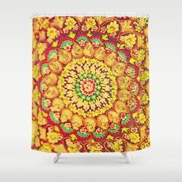 Mandala on copper plate 3 Shower Curtain