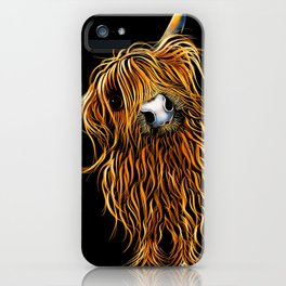 HIGHLAND COW PRINTS of Original SCOTTISH Painting  'CoooWeee on BLaCK ' SHIRLEY MACARTHUR iPhone Case