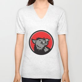 Wild Boar Head Angry Looking Up Circle Retro Unisex V-Neck