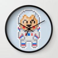 8bit Wall Clocks featuring 8Bit Astrobear by Bear Picnic